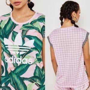 Adidas Pink Leaf Print Shirt
